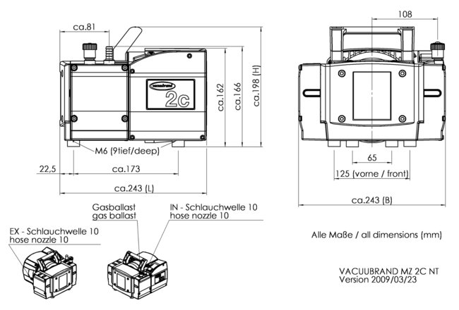 MZ 2C NT - 尺寸规格表