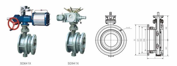 SD941X电动伸缩蝶阀结构图