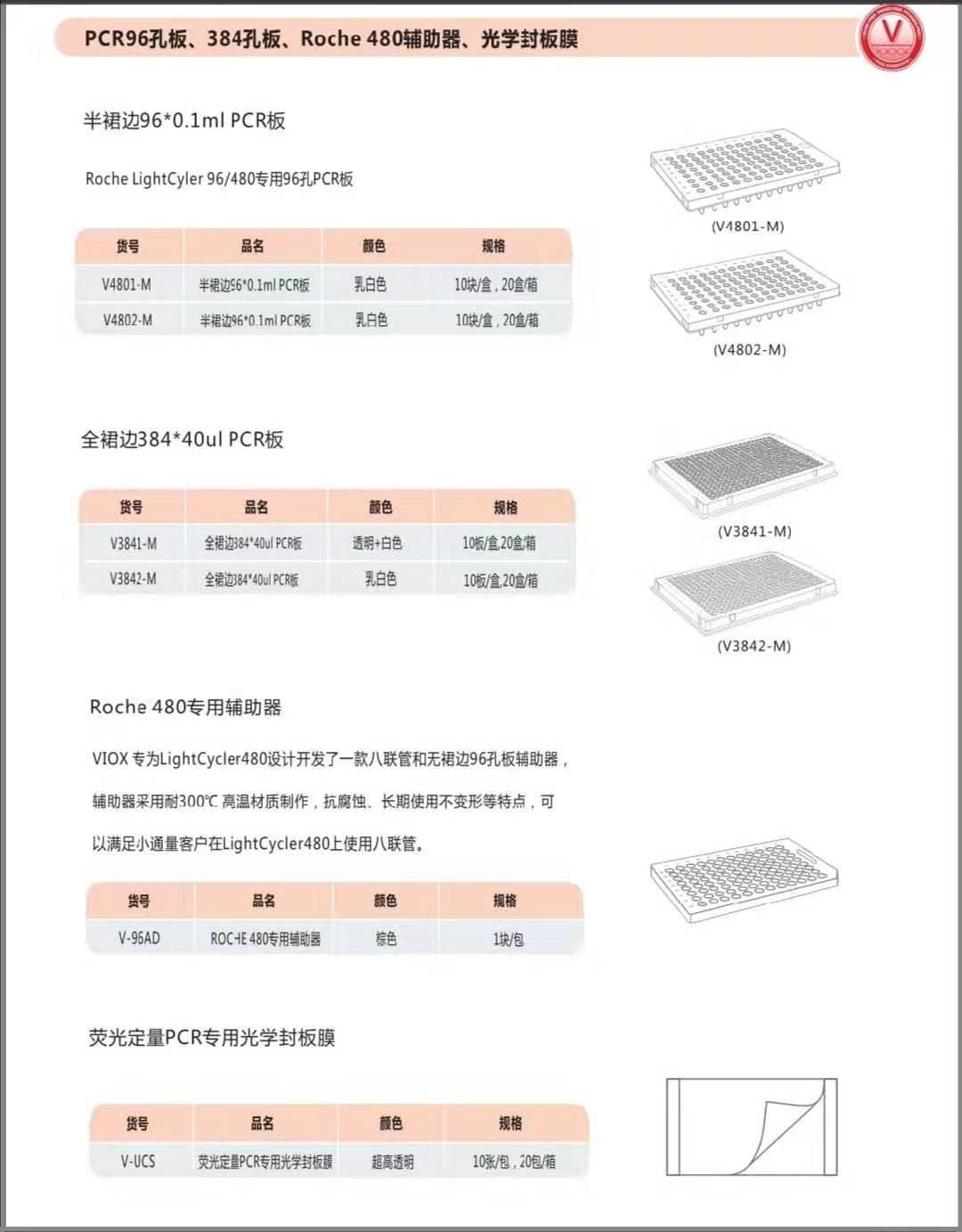 PCR96孔板,384孔板,Roche480辅助器,光学封板膜